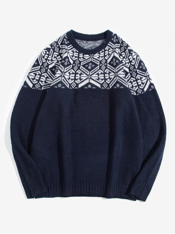 best Geometric Pattern Round Neck Sweater - CADETBLUE S