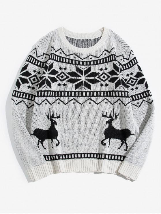 shops Wapiti Snowflake Pattern Christmas Sweater - WHITE S