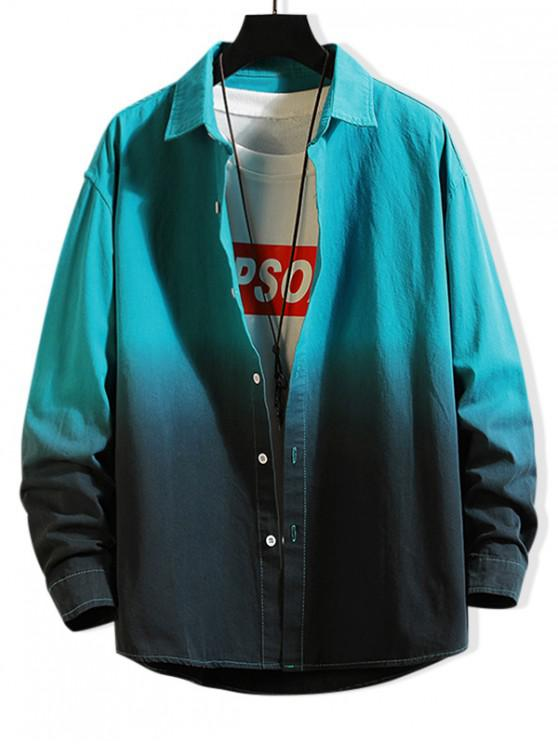 sale Color Spliced Letter Print Button Up Jacket - TURQUOISE XL