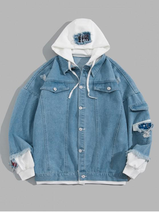 outfits Ripped Colorblock Faux Twinset Hooded Jean Jacket - LIGHT BLUE L