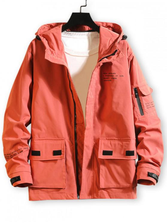 shop Letter Print Pocket Casual Hooded Cargo Jacket - RED XL