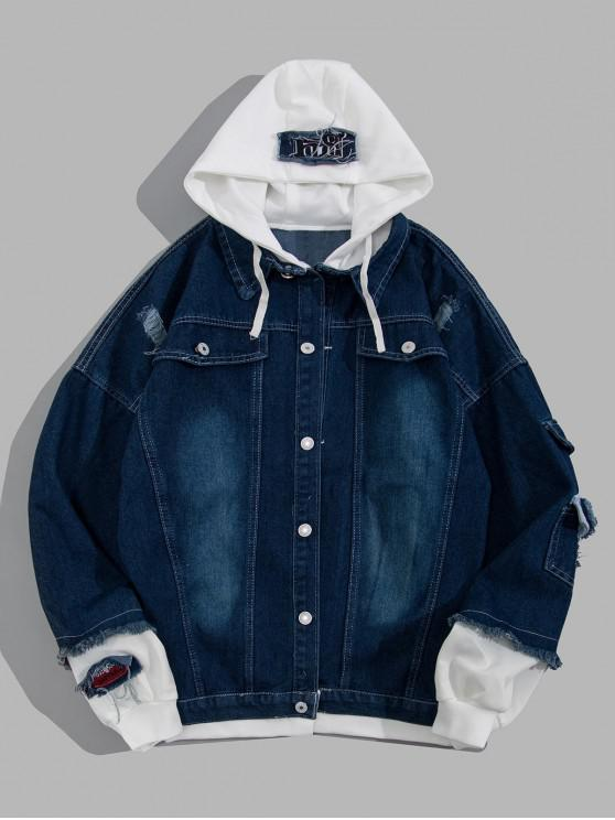 trendy Ripped Colorblock Faux Twinset Hooded Jean Jacket - DEEP BLUE XL