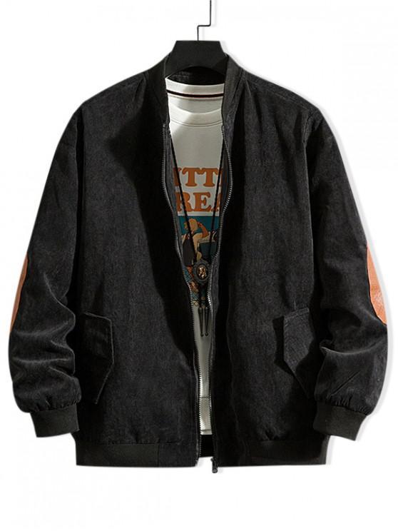 hot Solid Color Elbow Patch Zip Up Jacket - BLACK L