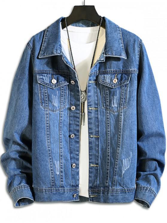 unique Double Pocket Decorated Button Denim Jacket - DENIM BLUE M