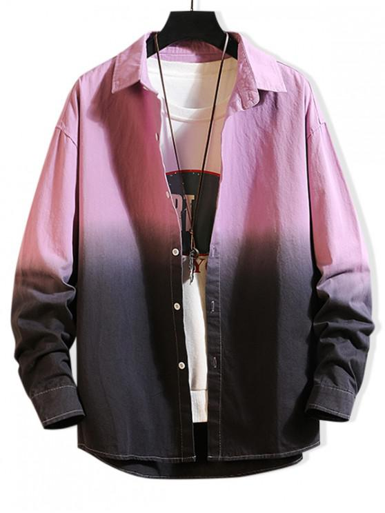 lady Color Spliced Letter Print Button Up Jacket - PURPLE XL