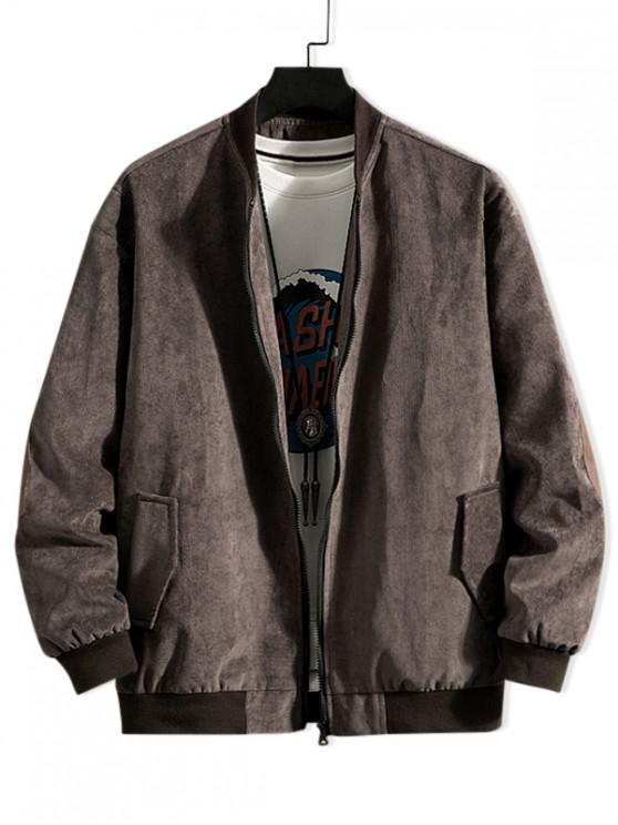 fancy Solid Color Elbow Patch Zip Up Jacket - COFFEE 2XL