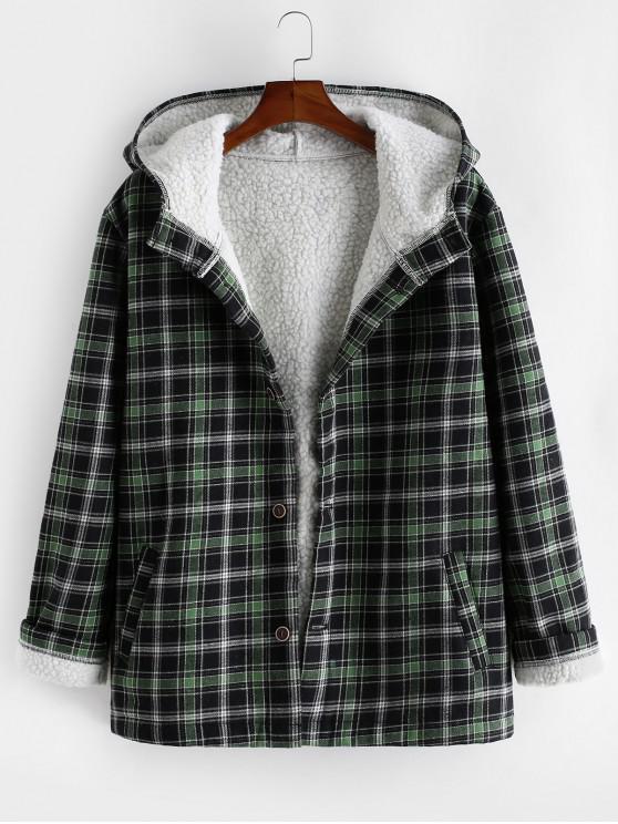 fancy Plaid Faux Fur Fluffy Hooded Jacket - MEDIUM FOREST GREEN S