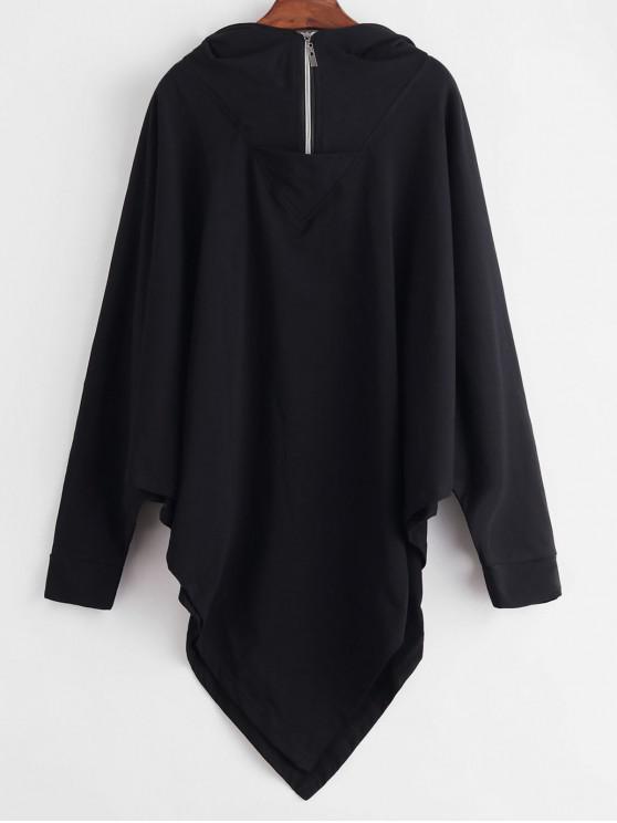 trendy Dolman Sleeve Half Zip Gothic Hoodie - BLACK 2XL