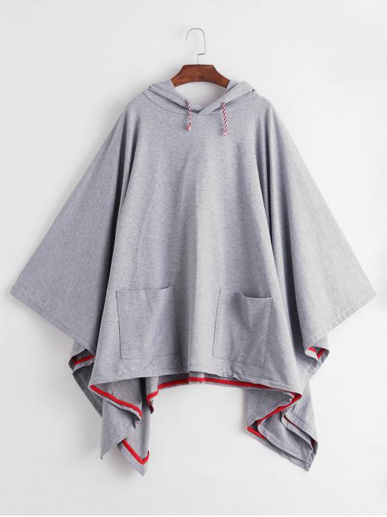 chic Drawstring Pockets Gothic Poncho Hoodie - LIGHT GRAY L