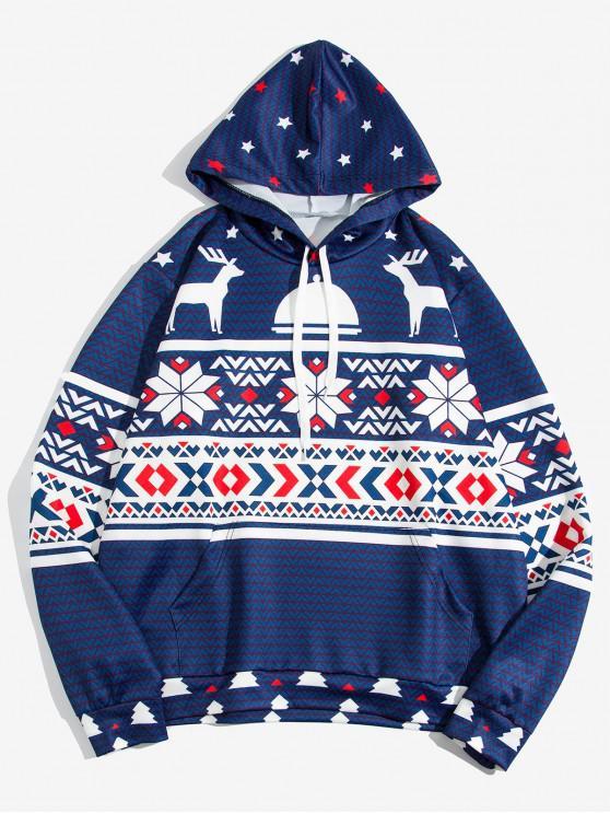 women Christmas Deer Geometric Print Kangaroo Pocket Hoodie - MULTI M
