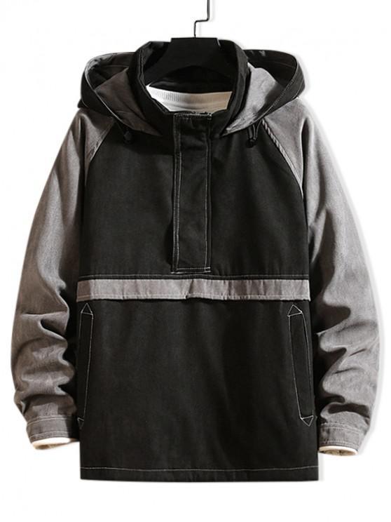 affordable Quarter Zipper Color Spliced Casual Hoodie - GRAY M