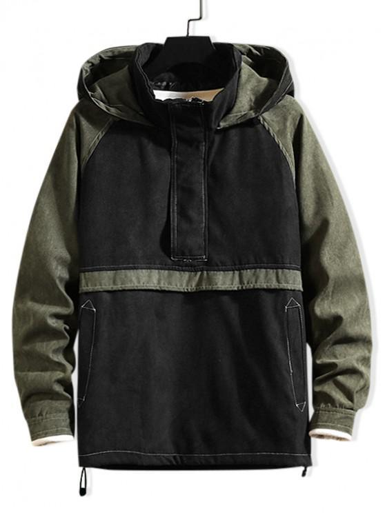women Quarter Zipper Color Spliced Casual Hoodie - ARMY GREEN 3XL