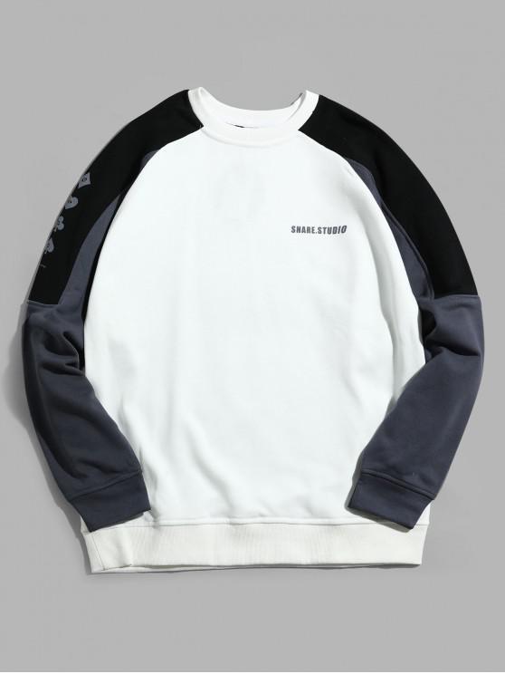 fancy Color Blocking Spliced Letter Graphic Raglan Sleeve Sweatshirt - WHITE M
