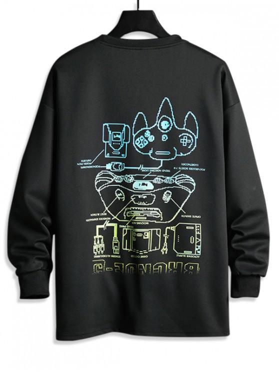 affordable Schematic Diagram Graphic Letter Print Sweatshirt - BLACK XS
