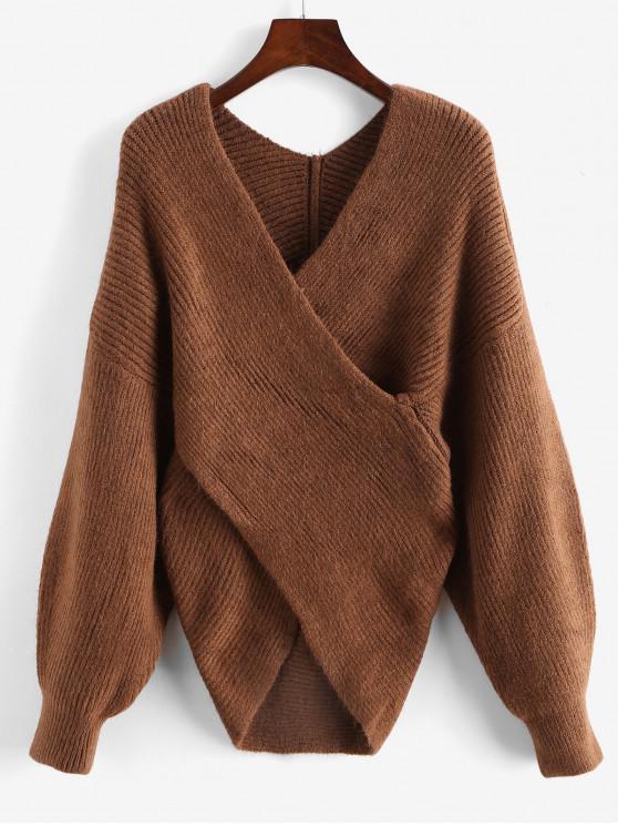 shops V Neck Overlap Solid Sweater - BROWN ONE SIZE