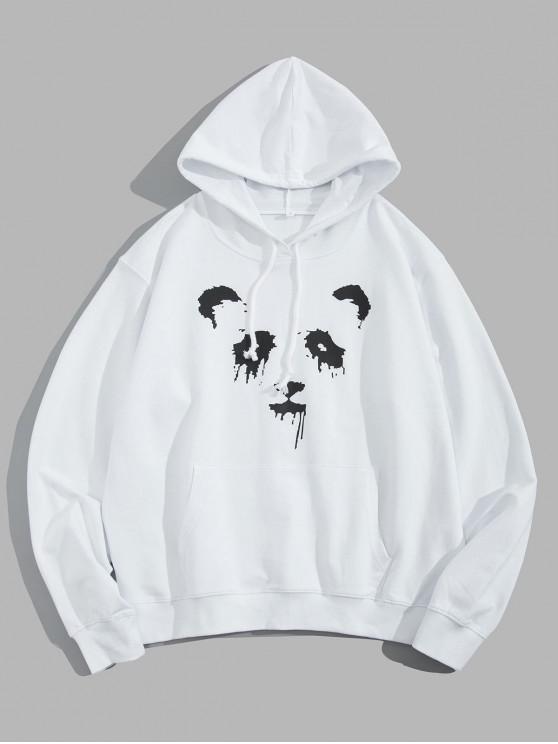 lady Panda Ink Graphic Front Pocket Drawstring Hoodie - WHITE XS