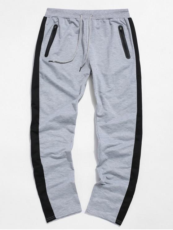 latest Colorblock Striped Drawstring Sport Pants - LIGHT GRAY M