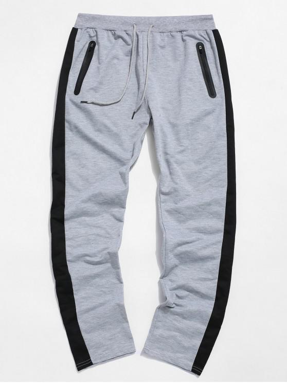 Pantaloni colorblock Striped Cordon Sport - Gri deschis 2XL
