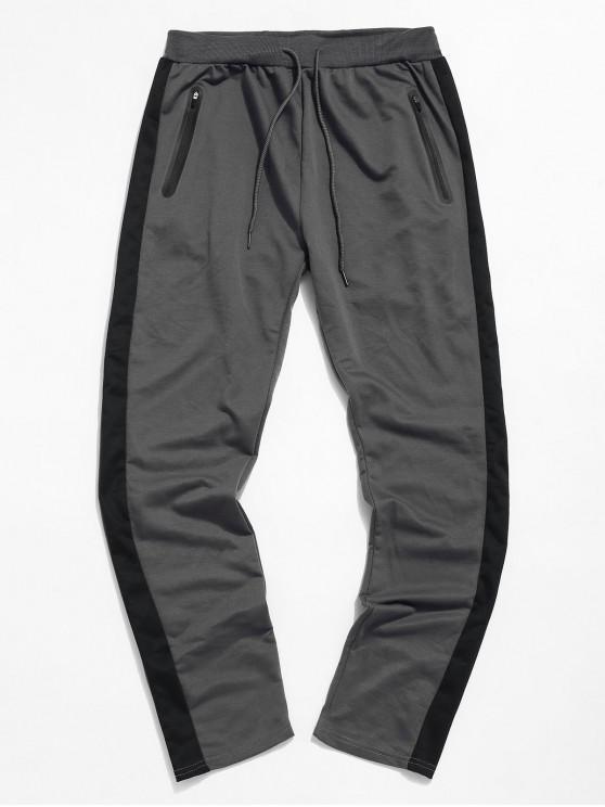 Colorblock條紋抽繩運動褲 - 深灰色 2XL
