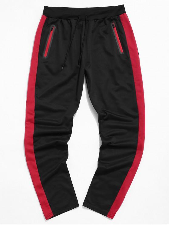 best Colorblock Striped Drawstring Sport Pants - BLACK XL