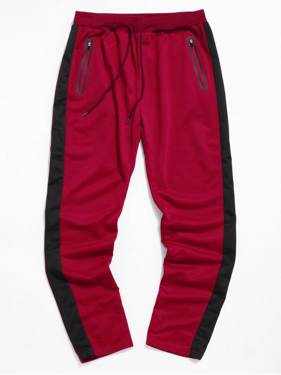 Colorblock條紋抽繩運動褲 - 紅 2XL