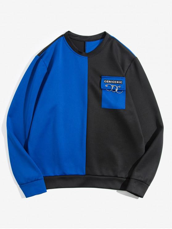 women's Color Spliced Pocket Decorated Sweatshirt - BLUE XS