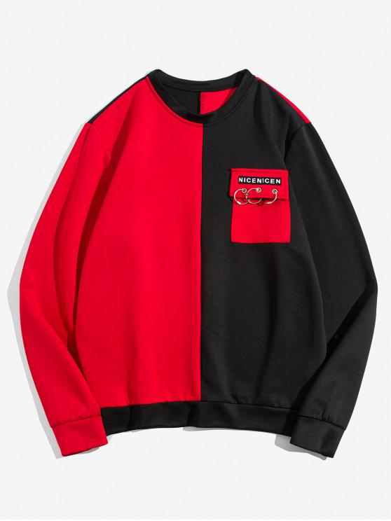 latest Color Spliced Pocket Decorated Sweatshirt - RED M