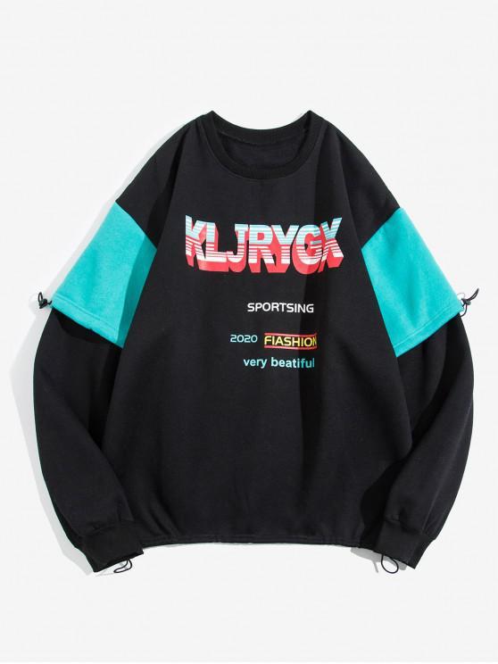 sale Letter Graphic Print Contrast Faux Twinset Fleece Sweatshirt - BLACK L