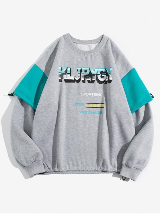 Scrisoare Grafica Print Contrast Faux twinset Fleece Sweatshirt - gri 3XL