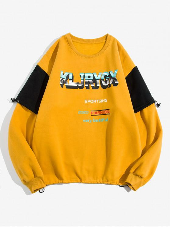online Letter Graphic Print Contrast Faux Twinset Fleece Sweatshirt - YELLOW 4XL