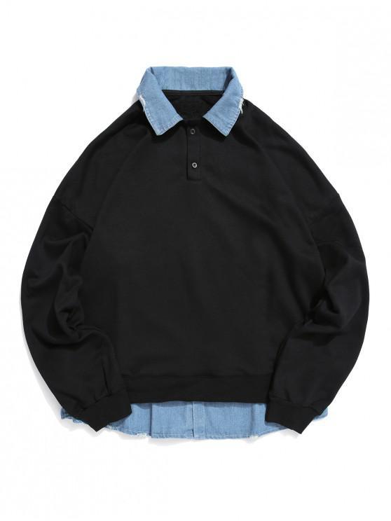 Cor Faux Two Pieces emendado camisola - Preto M