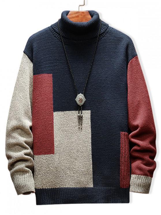 women's Color Blocking Turtleneck Casual Sweater - CADETBLUE L