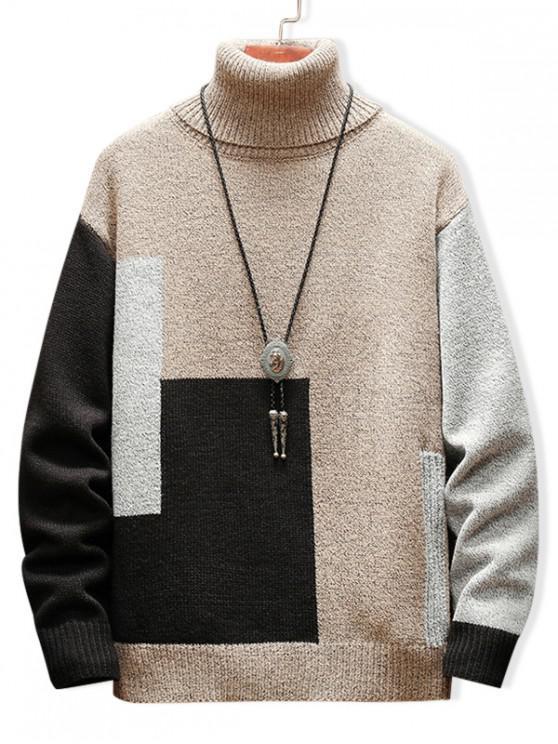 shop Color Blocking Turtleneck Casual Sweater - WHITE 3XL
