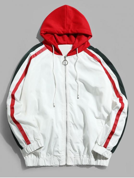 buy Colorblock Spliced Stripes Raglan Sleeve Hooded Jacket - WHITE 3XL