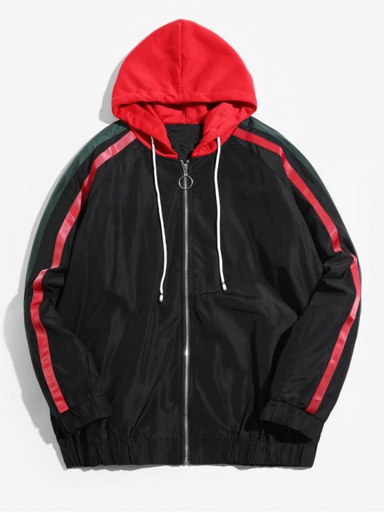 shops Colorblock Spliced Stripes Raglan Sleeve Hooded Jacket - BLACK 4XL
