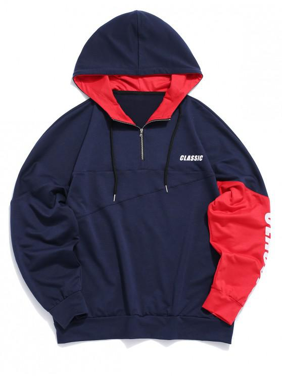 unique ZAFUL Casual Letter Print Color Spliced Hoodie - NAVY BLUE L
