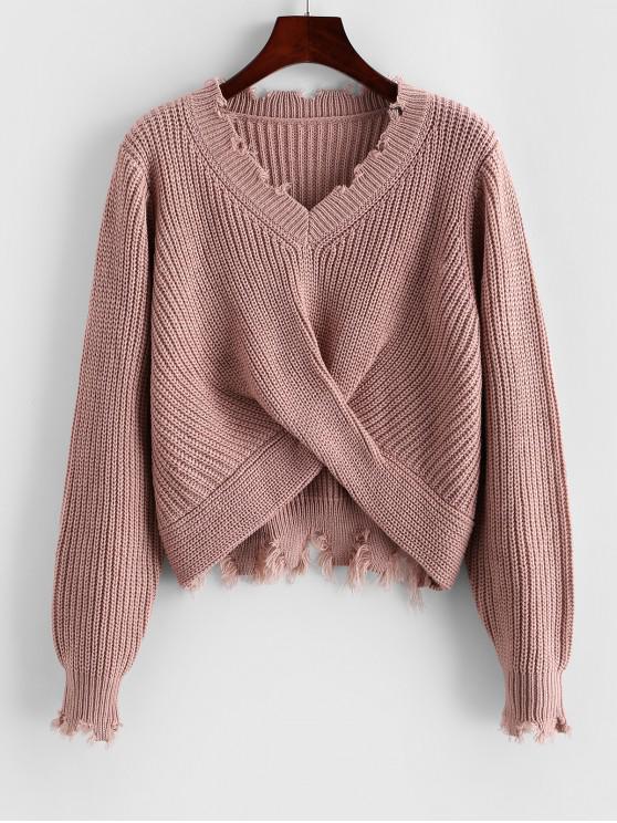 ladies ZAFUL Frayed Twisted Short Sweater - KHAKI ROSE M