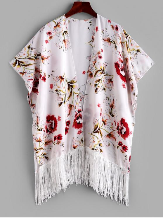 shops ZAFUL Fringed Flower Print Open Beach Cover Up - MULTI-A S