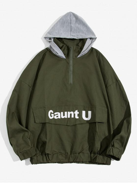 unique Letter Print Contrast Spliced Drop Shoulder Hoodie - ARMY GREEN M