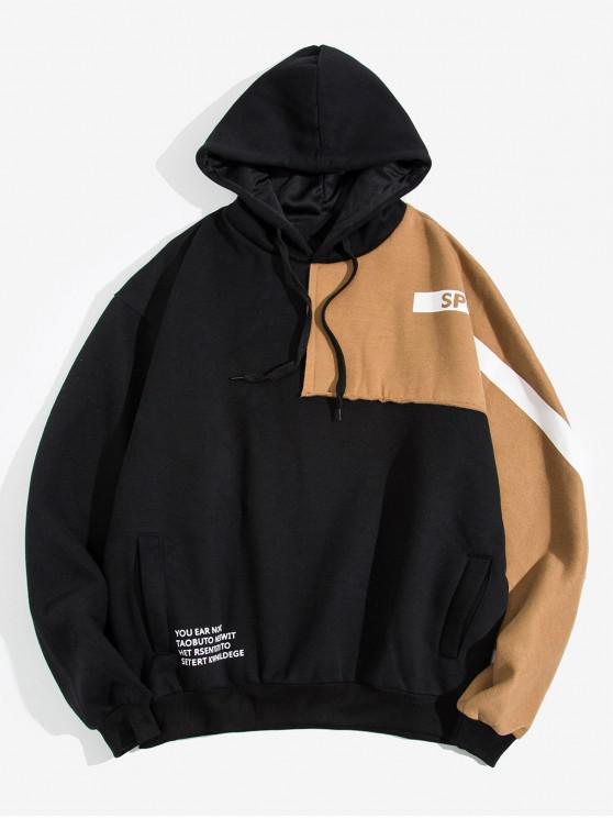 outfit Colorblock Patchwork Letter Raglan Sleeve Fleece Hoodie - BLACK 2XL