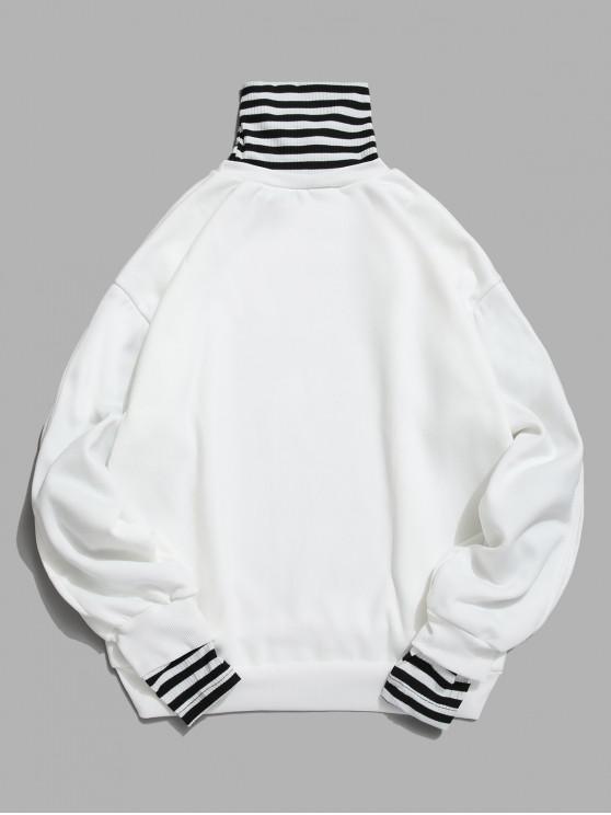 unique Faux Two Pieces Striped Pattern Sweatshirt - WHITE 2XL