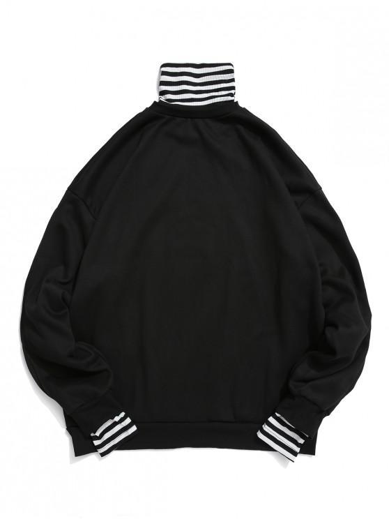women Faux Two Pieces Striped Pattern Sweatshirt - BLACK 2XL