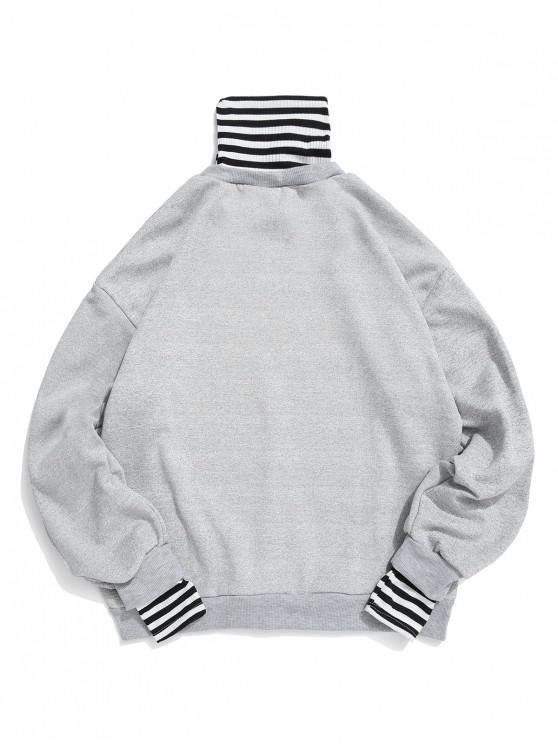 lady Faux Two Pieces Striped Pattern Sweatshirt - GRAY L