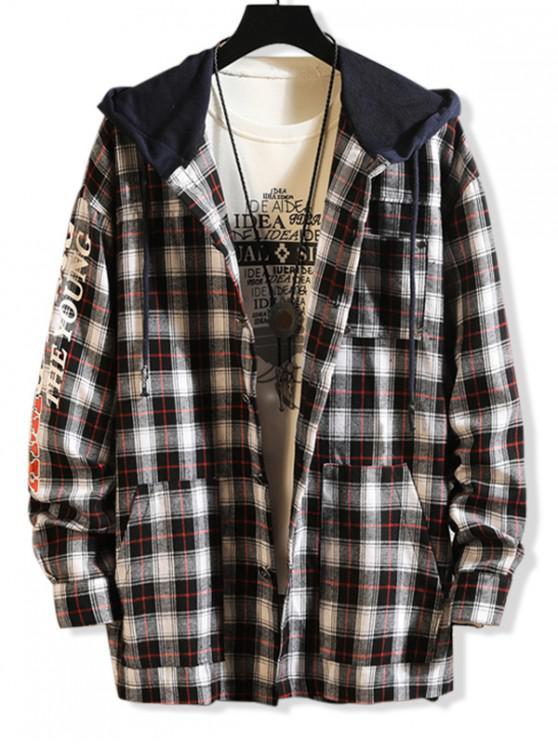 outfit Letter Print Contrast Hood Plaid Shirt - BLACK S