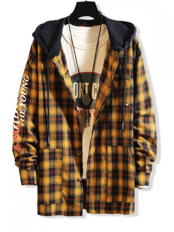 trendy Letter Print Contrast Hood Plaid Shirt - YELLOW M