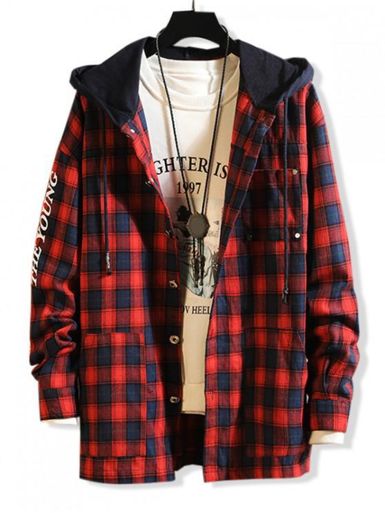 Scrisoare Print Contrast Hood Shirt Plaid - roșu 2XL