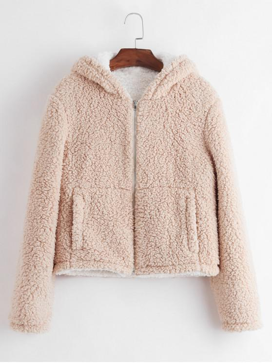 new ZAFUL Hooded Fluffy Zip Pocket Teddy Coat - APRICOT XL
