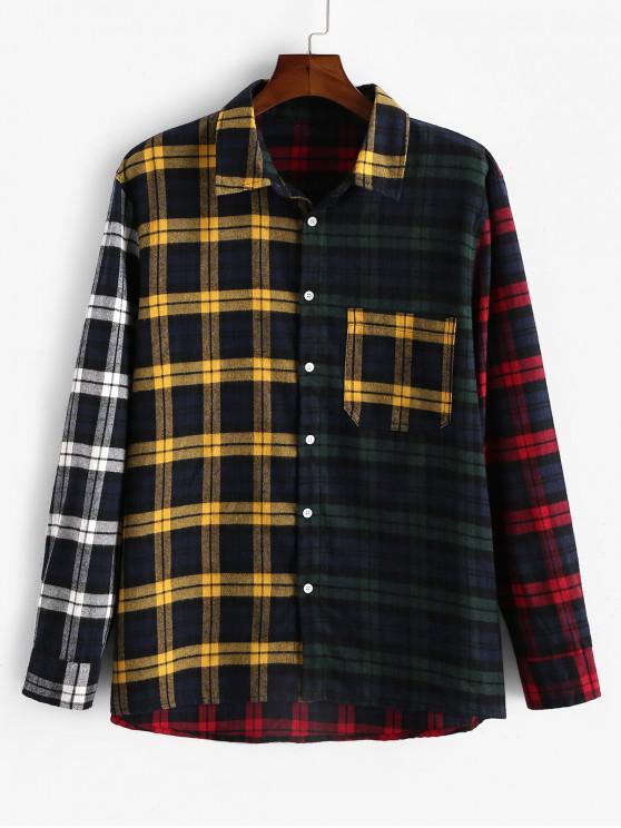 ZAFUL Клетчатый принт Цветной блок С длинными рукавами Рубашка - Многоцветный M