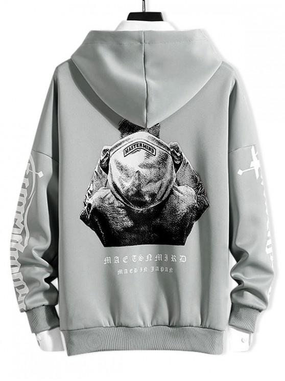 chic Character Letter Print Drop Shoulder Drawstring Hoodie - GRAY 3XL