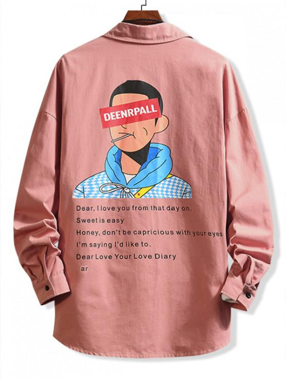 字母字符,打印Colorblock口袋襯衫 - 粉 2XL